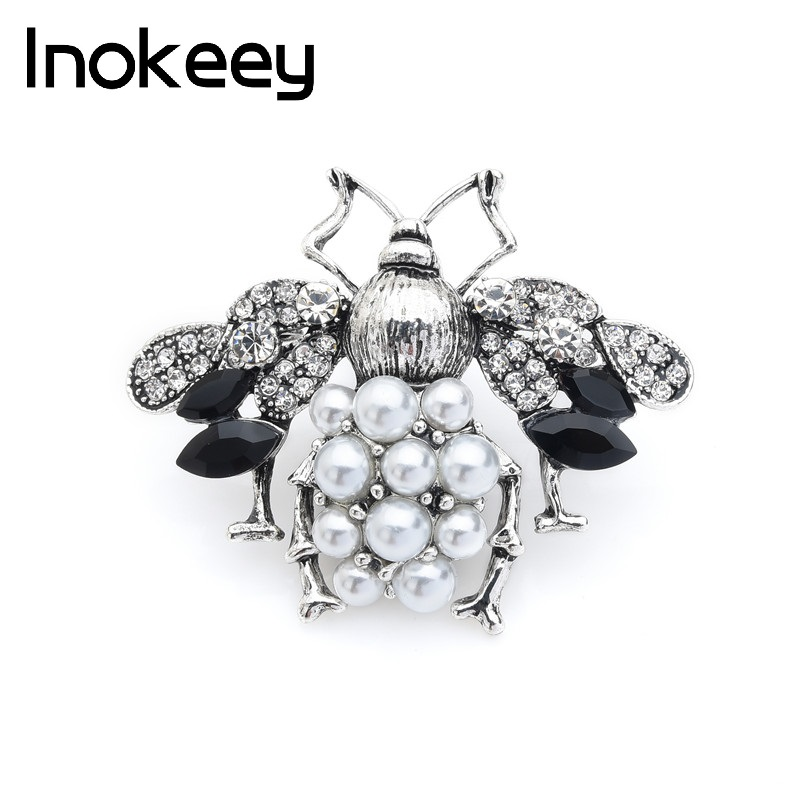 Inokeey Silver Vintage Simulated-pearl Bees Brand Brooch Pins For Women