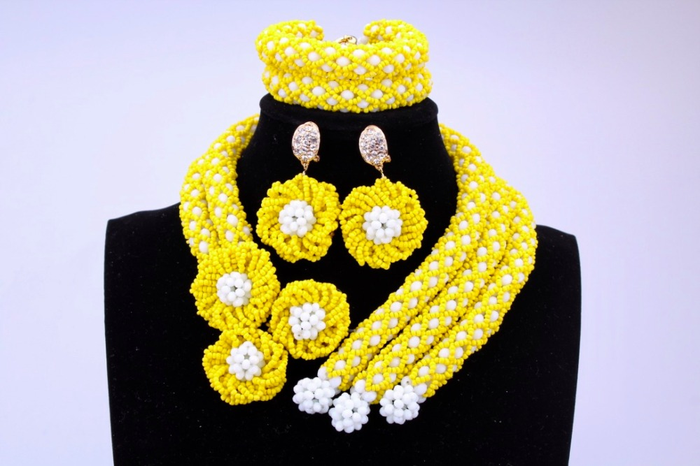 yellow flowers african nigerian beads necklace set costume
