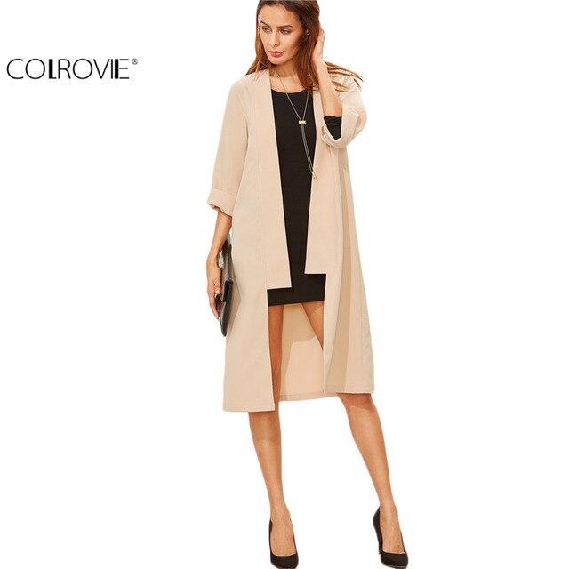 COLROVIE Trench Coat for Women Overcoat Women Basic Coats Winter Coat Women Apricot 3/4 Sleeve Collarless Duster Coat