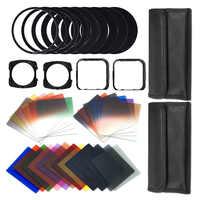 41 Pcs Platz gradienten linsen + ND Filter Kit Kamera Filter für Alle Linsen durch austausch adapter ring w/ brieftasche Haut Fall