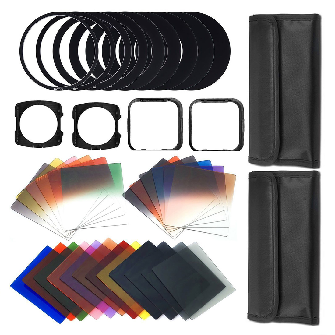 41 Pcs Square gradient lenses + ND Filter Kit Camera Filters for All Lenses by replacing adaptor ring w/Wallet Skin Case