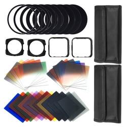 41 piezas cuadrado lentes de gradiente + y Kit de filtros de la cámara para Todas las lentes reemplazando anillo adaptador w/ cartera de piel