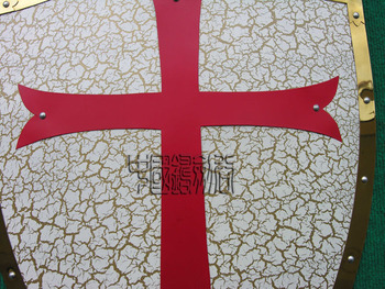 MEDIEVAL CRACK PATTERN RED CROSS CRUSADER ARMY IRON SHIELD 25.3 1