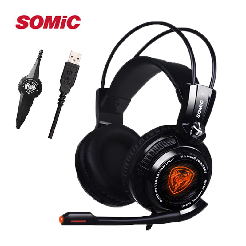 Somic G941 7.1 Gaming Headset Headphones with Microphone USB Noise Cancelling Stereo Bass Vibration LED Light for PC PS4 Gamer xiberia v10 pc gamer bass headset gaming for ps4 new xbox one gaming headphones with microphones led light computer game headset