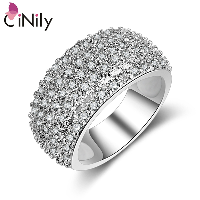 Cinily Jewelry Ring-Size Wedding-Engagement Silver-Plated Cubic-Zirconia Women for 6-8