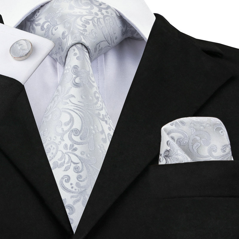 C-1169 2017 Floral Herren Krawatte Set Silber Weiß Jacquard Seide Krawatte Einstecktuch Manschettenknöpfe 8,5 cm Klassische Krawatten für Männer Corbatas