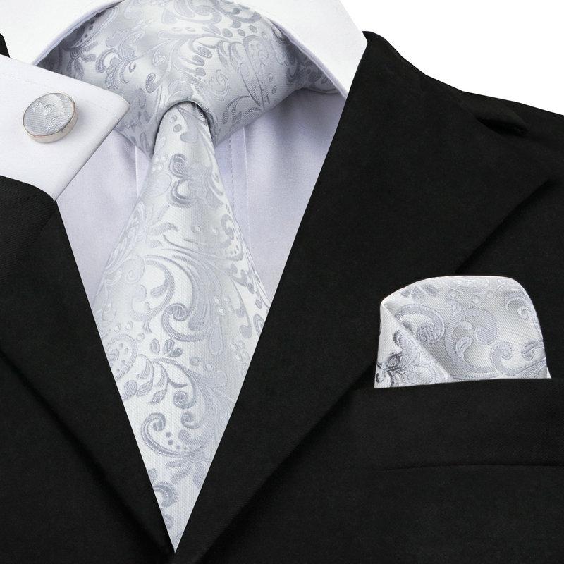 C 1169 2017 Floral Mens Tie Set Silver White Jacquard Silk ...