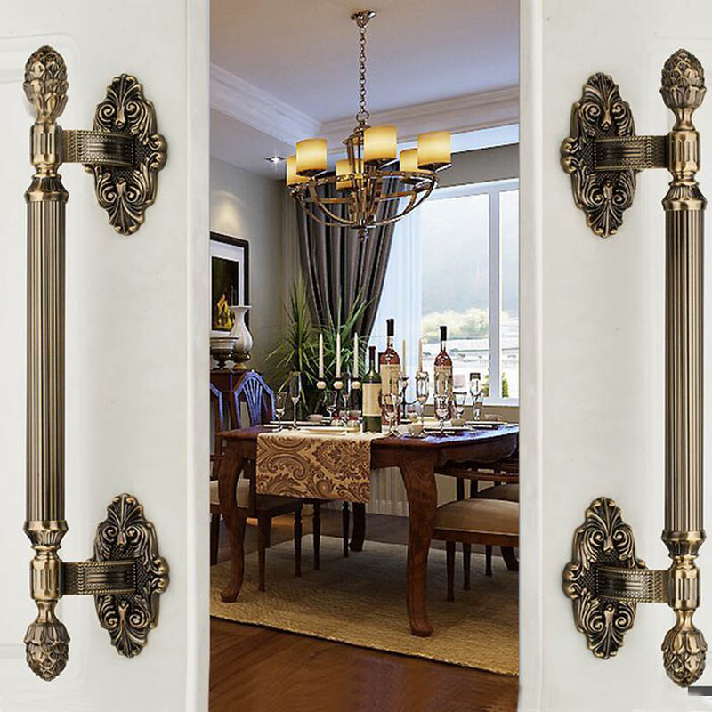 420mm vintage big gate /door handles bronze glass door handles antique brass wood door pulls Europe style door handles fittings 550mm high quality clear crystal glass big gate door handles stainless steel big gate door handle pulls wooden door pulls