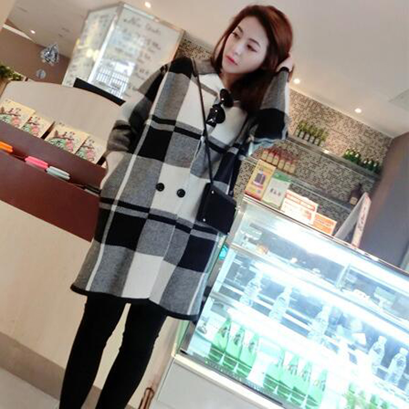 New winter thick long cardigan Long sleeve square collar lady ...