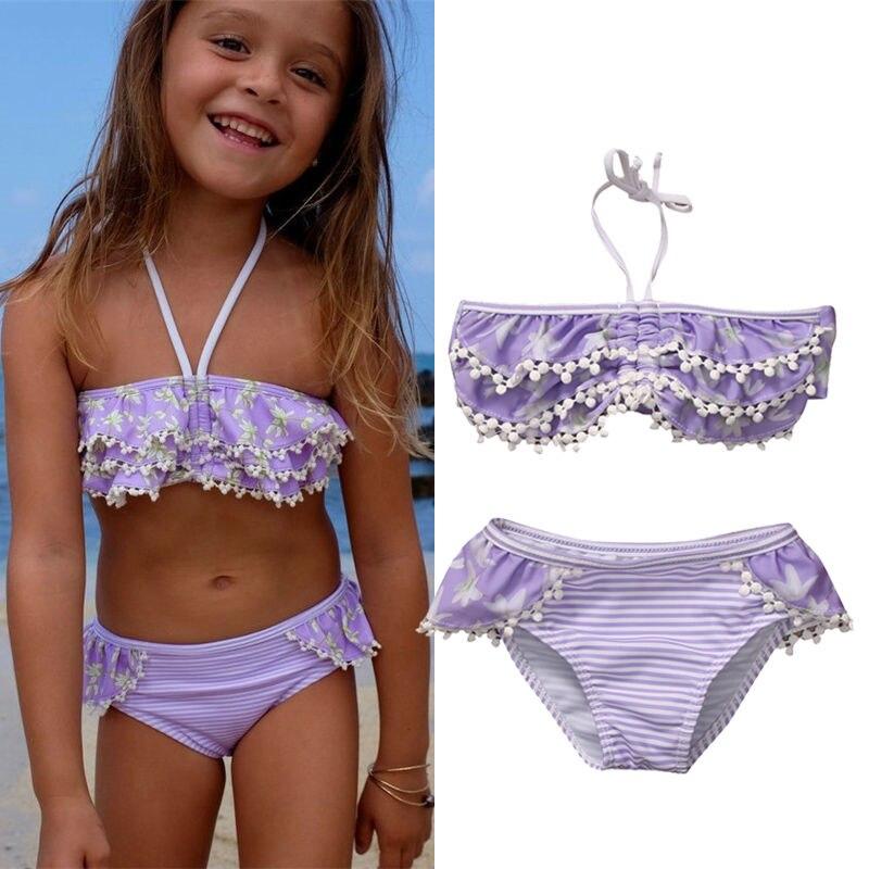 2017 Baby Girls Summer Floral Purple Swimwear Kids Child Swimsuit Bikini Set Swimsuit Beachwear Biquni Split Two-pieces Swimwear