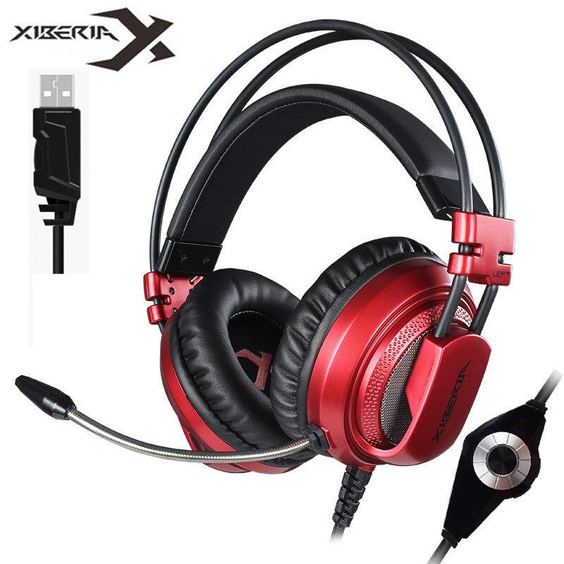 Xiberia V10 meilleurs écouteurs de jeu USB 7.1 Casque pour PC jeu ordinateur basse stéréo casques Casque avec Microphone lumière LED