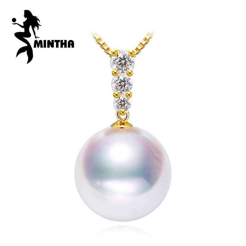 MINTHA 18K Gold pendant 8 9mm round freshwater pearl Jewelry necklaces & pendants bohemian pendants send s925 silver necklace
