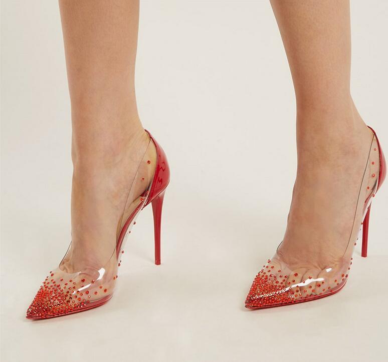 Marque dames pompes rouge clair PVC chaussures de mariage mariée cristal bout pointu pompes à talons hauts rouge en cuir verni fête chaussures de mariage