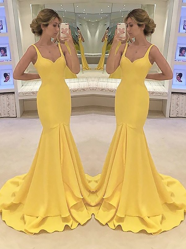 Vestidos De Festa Yellow Mermaid Chiffon Sweetheart Neck Long   Prom     Dresses   2019 Tiered Sleeveless Floor Length   Prom     Dress   HFY218