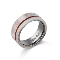 2018 New Design 8mm Width Man's Wedding Tungsten Rings with Real Deer Antler and Thin Stripe Koa Wood for Hunting Rings 7 11