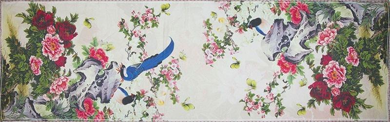 Шелковый женский Шарф Пион и птица Шелковый платок дизайнерский шарф женский Шелковый пашмины тонкая шёлковая Роскошная обертка Дамский подарок