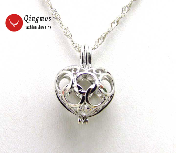 Qingmos Wish Pearl Gift Box 20mm Heart Cage Chokers Necklace for Women with Oyster Love Pearl Pendant Chain Necklace Colar-3622