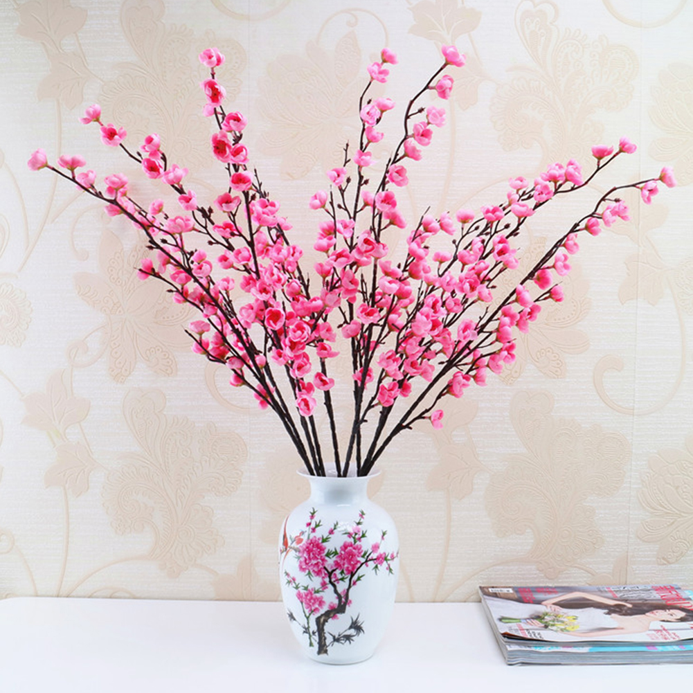 Hot Sale 3 Forks Artificial Flowers Cheap Silk Fake Flowers Plum