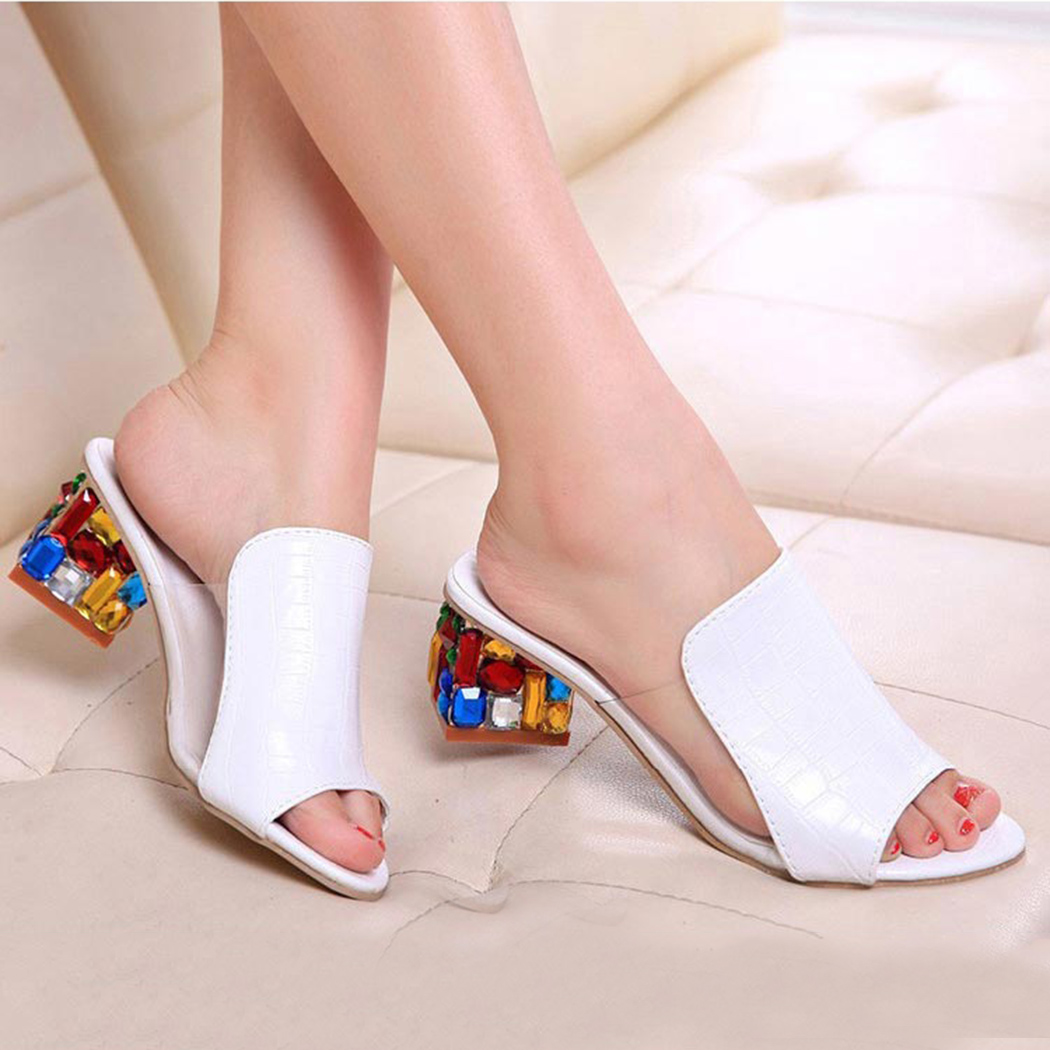 Plus Size Women Shoes Colorful Rhinestone Women Sandals Women Crystals High Heels Shoes Platform Sandals Peep Toe Ladies Shoes