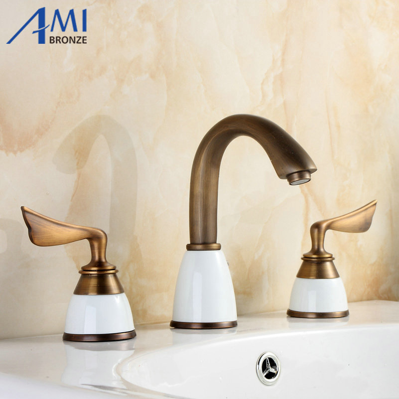 antique bronze faucets bathroom bathtub basin hot/cold handles ...