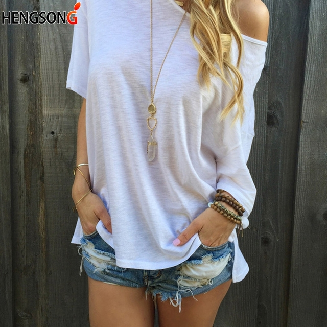 Femme Sexy Strapless T-shirt Summer One Shoulder Tops For Women Half Sleeve TShirt Casual Loose Shirts Plus Size