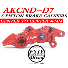 AKCND Motorcycle 6 piston brake calipers Aluminum Alloy CNC Hydraulic Disc Brake 40mm Center for YAMAHA smax bws aerox nmax 155 rpm cnc electric motorcycle scooter brake calipers 200mm 220mm disc brake pump adapter bracket for yamaha aerox bws rsz