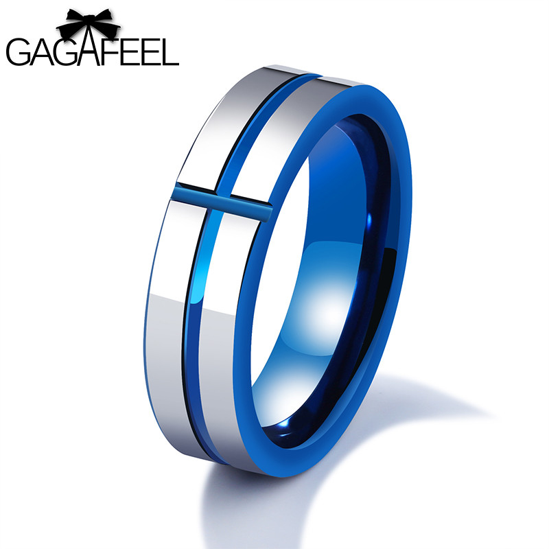 GAGAFEREL Ring For Man High Quality Cross Mans Finger Ring Personalized Retro Tungsten Steel Rings Punk Fashion Jewelry