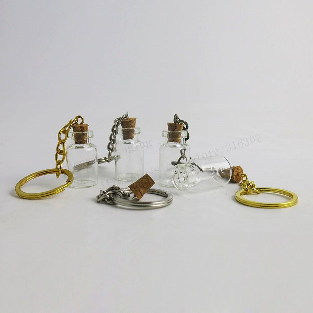 100 x 2ML Mini Glass Bottles Key Chain Pendants Small Wishing Bottles With Cork Vial Arts Jars For Bracelets Gifts  glass bottle