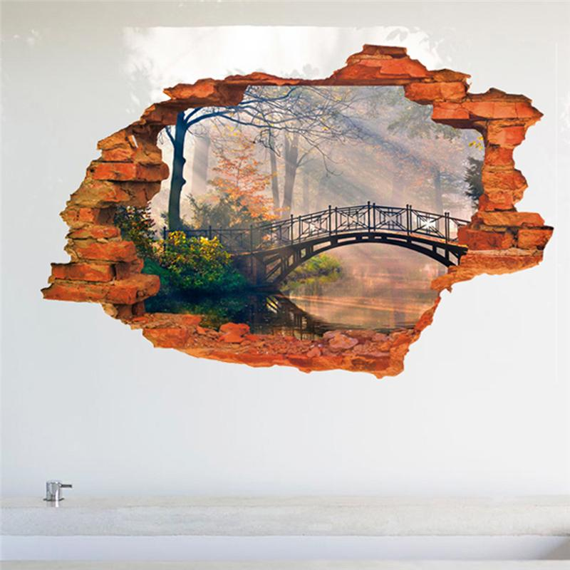 HTB1G..bLXXXXXc8XVXXq6xXFXXXl - forest tree bridge through the wall stickers