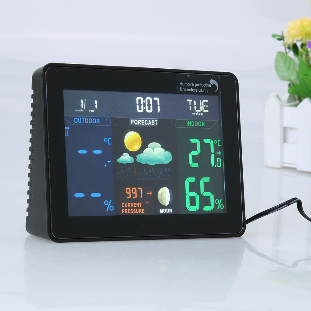 Wireless Color Weather Station Indoor/Outdoor Forecast Temperature Humidity Alarm and Snooze Thermometer Hygrometer US/EU Plug wireless weather station indoor hygrometer indoor