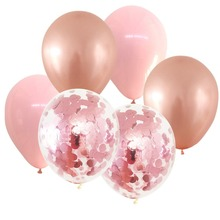 PINK & ROSE GOLD BALLOONS WITH 2 LIGHT CONFETTI BALLOON BOUQUET (12 PACK) Happy Birthday Wedding Balloons Anniversary Party