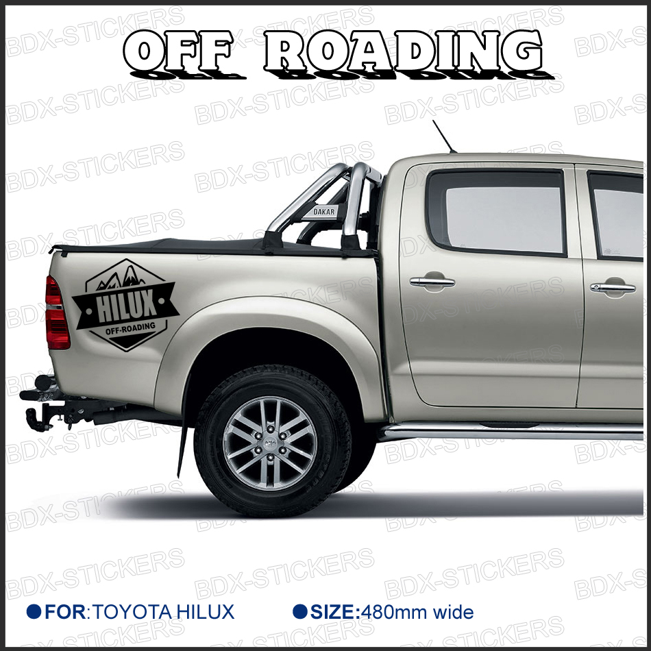 2 PC free shipping REAR STICKER hilux off road DECAL FOR  TOYOTA HILUX decals badges detailing sticker 2 pc hilux hilux chequered racing side stripe graphic vinyl sticker for toyota hilux decals