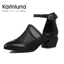 2017 brand new cut outs full grain leather Black med heels women shoes woman sandals nature cow leather party shoes