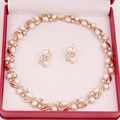 African Wedding Bridal Gold Silver Plated Costume Necklace Earrings Sets For Women Fashion Imitation Pearl Jewelry Sets
