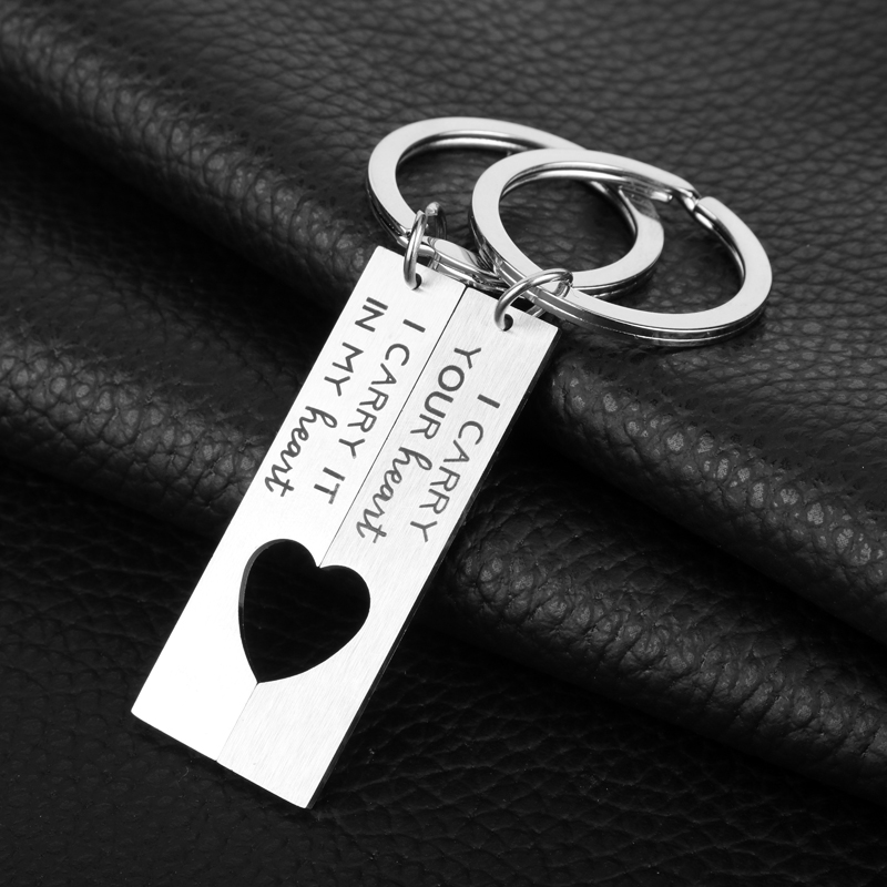 HANCHANG Fashion Jewelry KeychainI Carry Your Heart I Carry It My HeartKeyring Boyfriend/Girlfriend Keychain Lover Friend Gift image
