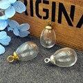 20 conjunto de 14.5*11mm gota globo de vidro 3mm com furo 6mm/8mm contas cap resultados da jóia encantos garrafa de vidro frasco de vidro pingente