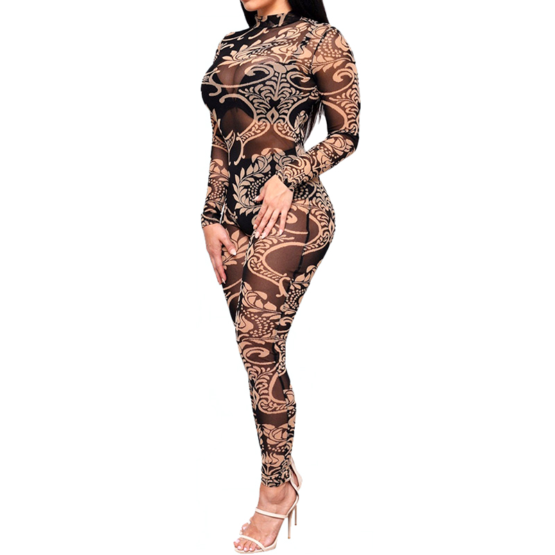 Long Sleeve Tattoo Sleeve For Black Men: TAUPIN AM Mesh Rompers Womens Jumpsuit Women Tribal Tattoo