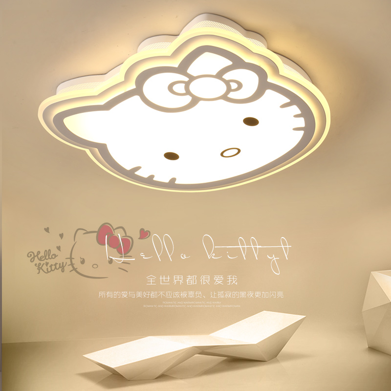 Hello Kitty ceiling lights modern pink/ white acrylic protect eyesight kids room Children room Surface mounted ceiling lamp LED