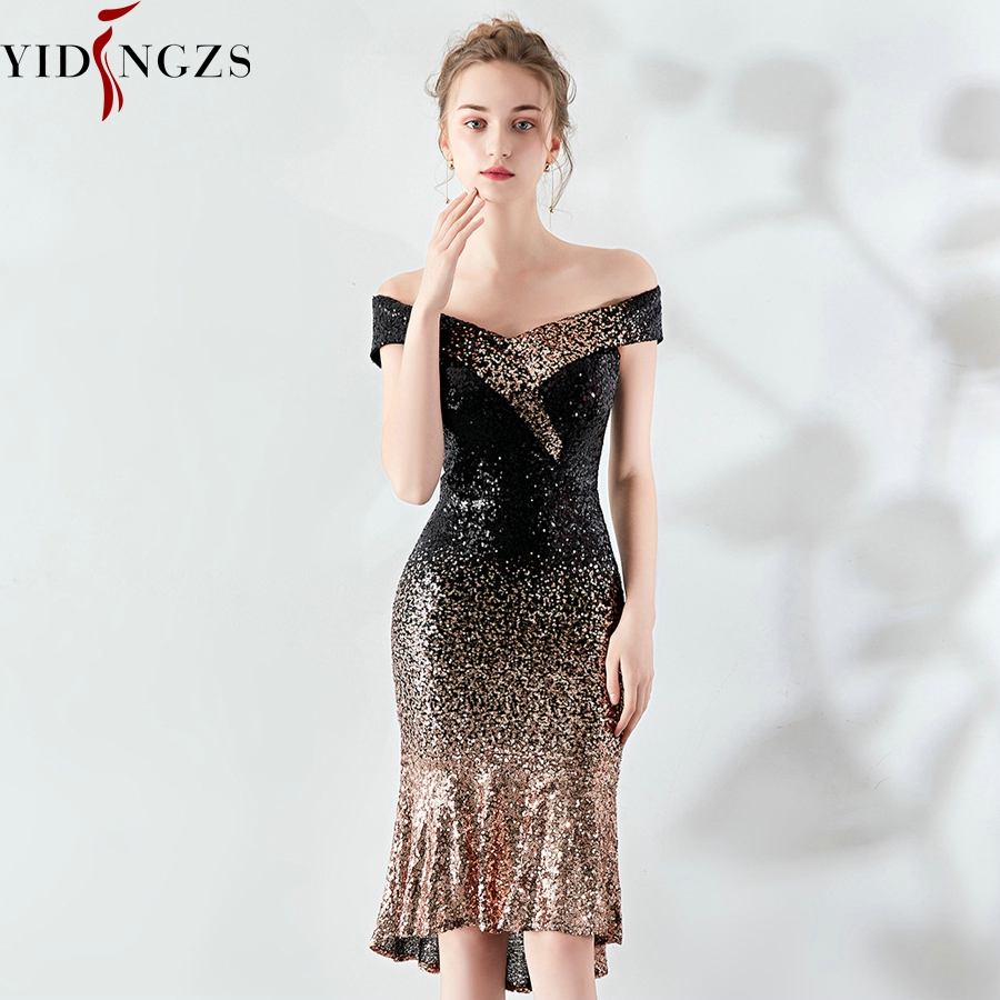 YIDINGZS New Women Boat Neck Elegant Sequin   Prom     Dress   Knee Length Sparkle Party   Dress