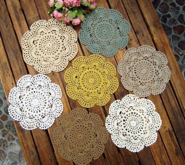 wholesale handmade crochet Doily, 22*22cm placemat crochet applique round 20PCS/LOT