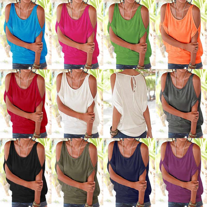 여성 여름 T 셔츠 2020 캐주얼 티셔츠 섹시한 오프 어깨 탑스 Batwing 짧은 소매 레이스 업 솔리드 o-넥 레이디 루즈 탑스 티셔츠
