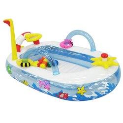 Balón de inflado para niños, piscina de plástico con forma de barco, piscina oceánica, 10 bolas de océano, parque infantil 157x102x74CM