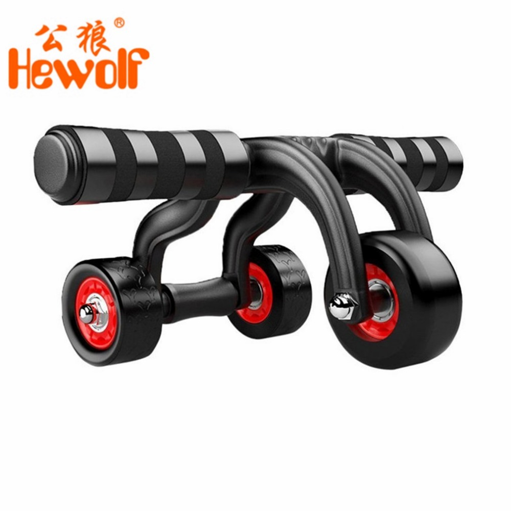 OUTAD 3-Wheel Fitness Abs Wheel Roller with Quiet Bearing Abdominal Workout Muscle Exercise Tool Gym Aerobic Exercise Equipment