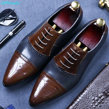QYFCIOUFU Lace-up Mixed Colors Formal Genuine Leather Business Casual Shoes Men Dress Office Luxury Shoes Pointed Toe Oxfords