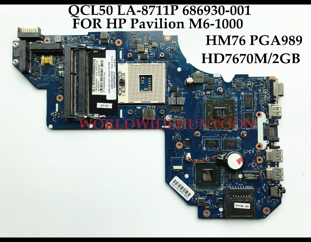 Wholesale High quality QCL50 LA-8711P FOR HP Pavilion M6-1000 Laptop Motherboard 686930-001 SLJ8C HM76 PGA989 DDR3 HD7670M 2GB 683495 001 for hp probook 4540s 4441 laptop motherboard pga989 hm76 ddr3 tested working