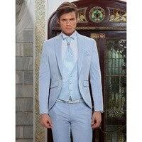 2018 Latest Coat Pant Designs sky blue peaked tuxedos vintage retro italian men suit for wedding evening party blazer 3 pieces