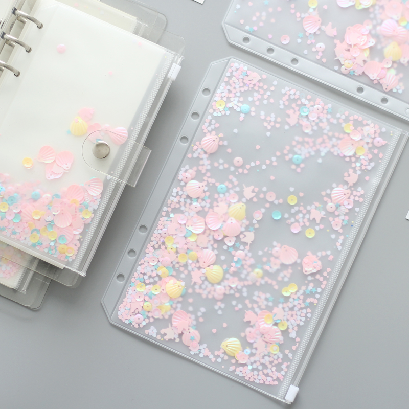 A5A6 Pink Shell Sequins Spiral Zipper Bag Divider Planner Accessories Diary Notebook File Storage bag For Filofax Dokibook