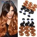 Whole Sale Brazilian Hair 1B 30 Ombre Virgin Hair Alimoda Brazilian Body Wave Three Tone Ombre Brazilian Hair Weave Wet And Wavy