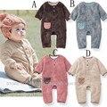 Macacão de bebê recém-nascido da criança velo Romper do bebê dos desenhos animados do sono terno Longsleeve meninos meninas roupas de flanela do bebê pijamas