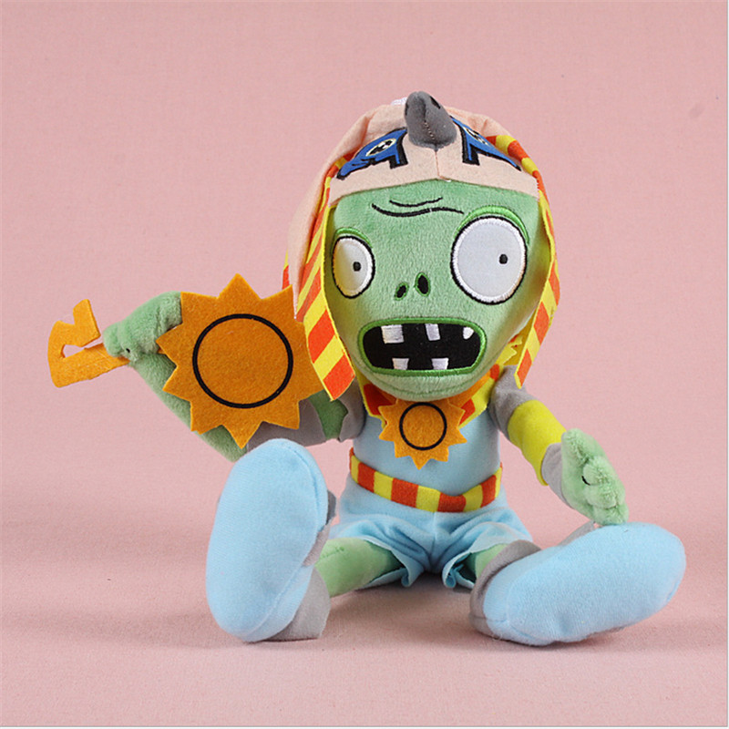 2017 new arrive cute plant vs zombies 28CM trumpet Zombies doll (wearing hat Zombie)Plush toy doll